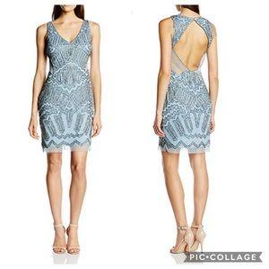 Adrianna Papell mesh panel midi dress